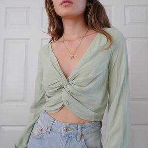 urban outfitters green wrap shirt